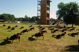 police recruits doing pushups in a field